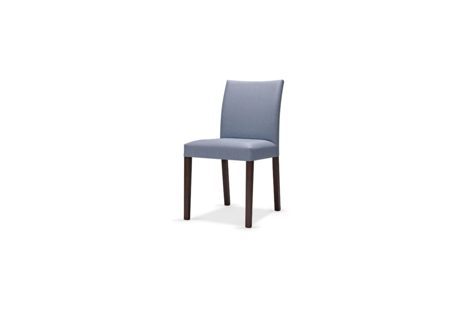 Fully upholstered chair restaurant seating blue wood frame wooden solid